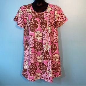 Pink Hawaiian floral mumu